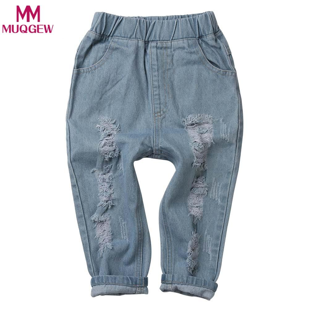 MUQGEW Baby Girls Ripped Jeans Spring Summer Fall Style New 2018 Trend Denim Trousers For Kids Children Distrressed Hole Pants