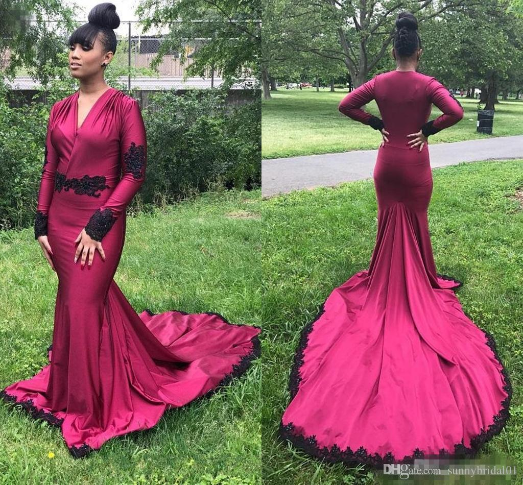 2424aaea454f New Sexy 2018 Burgundy V Neck Mermaid Prom Dresses Long Sleeves Evening  Gowns With Black Lace Appliques Open Back Women Formal Wear Beautiful Prom  Dresses ...