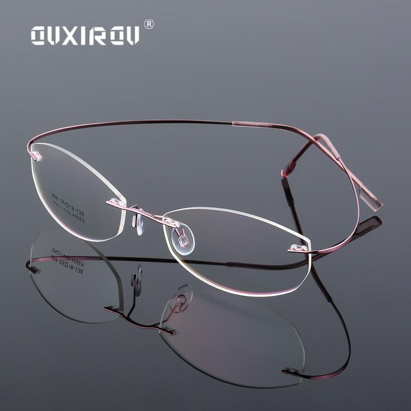 62883d0b50 2019 Lightweight Rimless Glasses Frame Memory Titanium Alloy Eyeglasses  Women Men Oval Myopia Optical Glasses Frames Brand S866 From Kwind