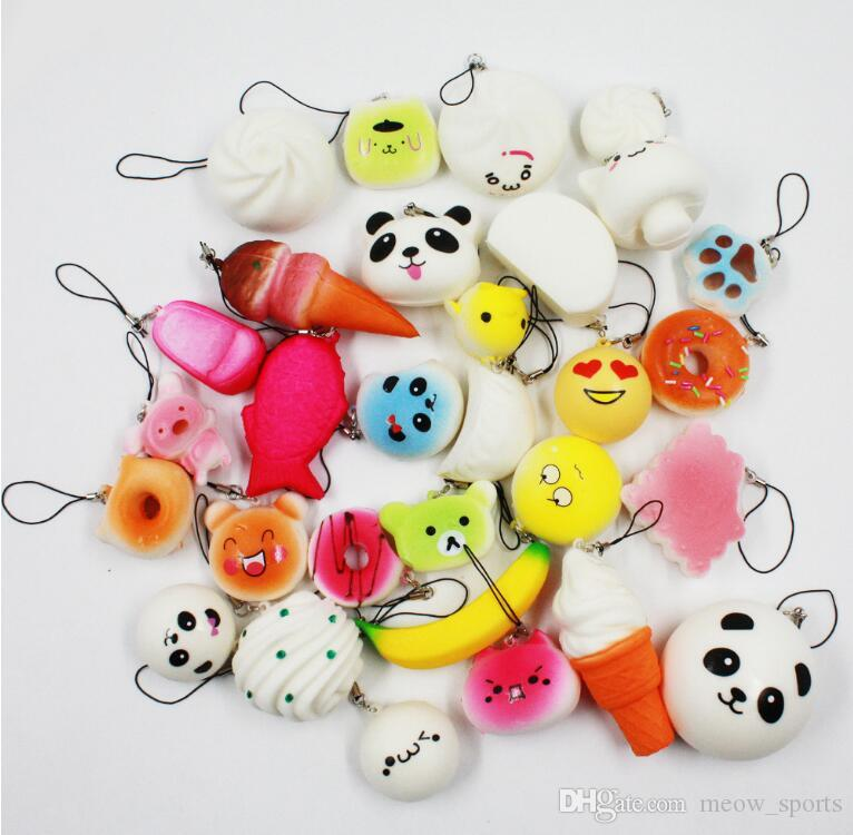 30 unids teléfono correas colgante rebote lento lindo Mini Kawaii descompresión Jumbo Panda Bun lindo pastel de pan suave helado helado regalo