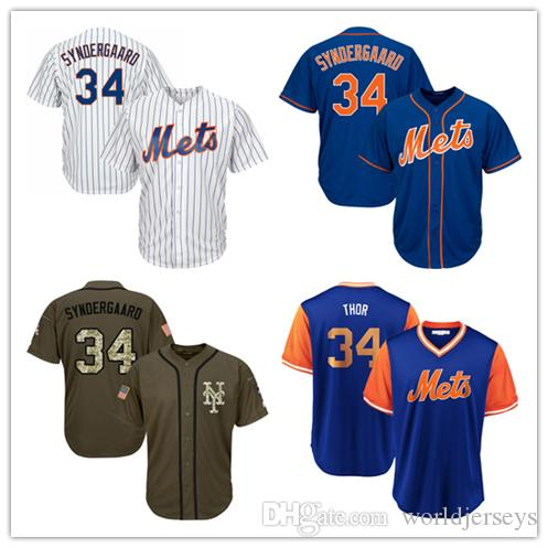 buy online 3b7cd d37b7 Mens Met Jersey 34 Syndergaard Baseball Jerseys White Blue Green Salute to  Service Players Weekend All Star