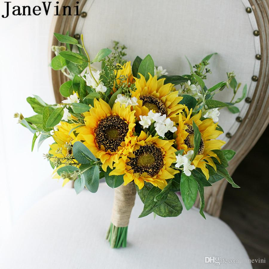 Janevini Vintage Yellow Sunflower Bridal Flowers Wedding Bouquet