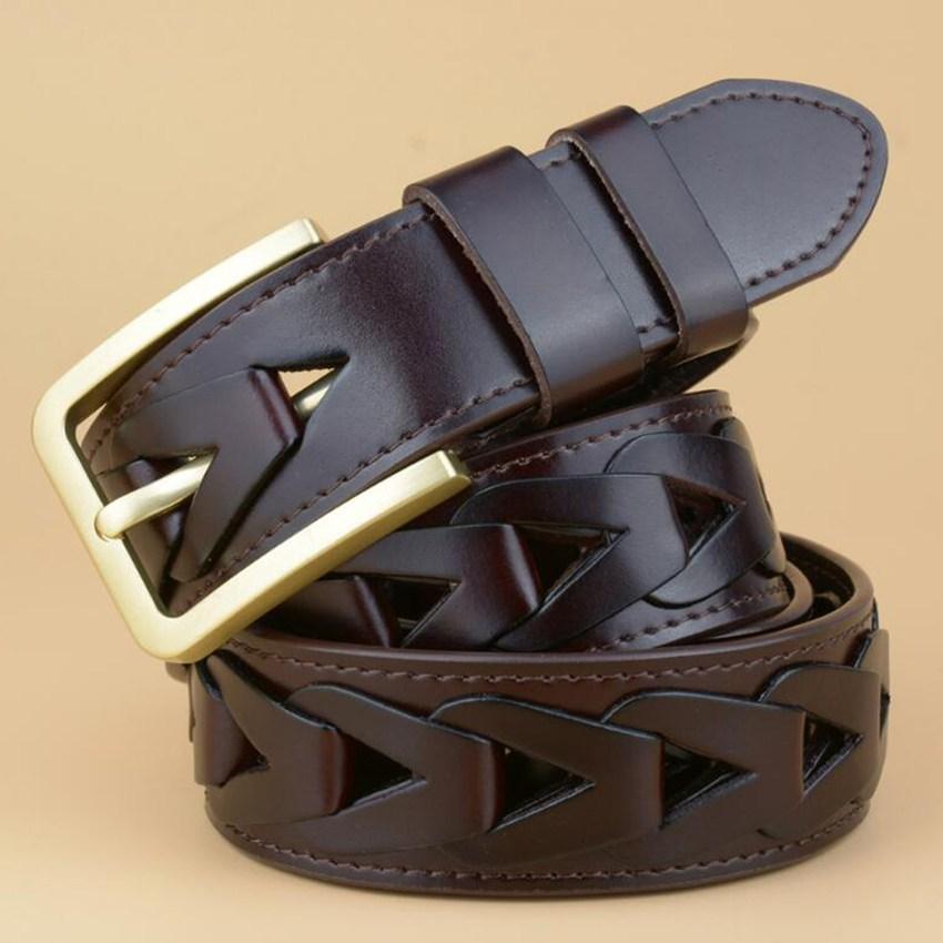 Compre Nuevo Cinturón Trenzado Cinturón De Cuero Hombres Moda Pantalones  Vaqueros Cinturones Hombre Vintage Faja Cintura Hombre PIn Hebilla Tejer  Grano A ... 9e7600452c7c