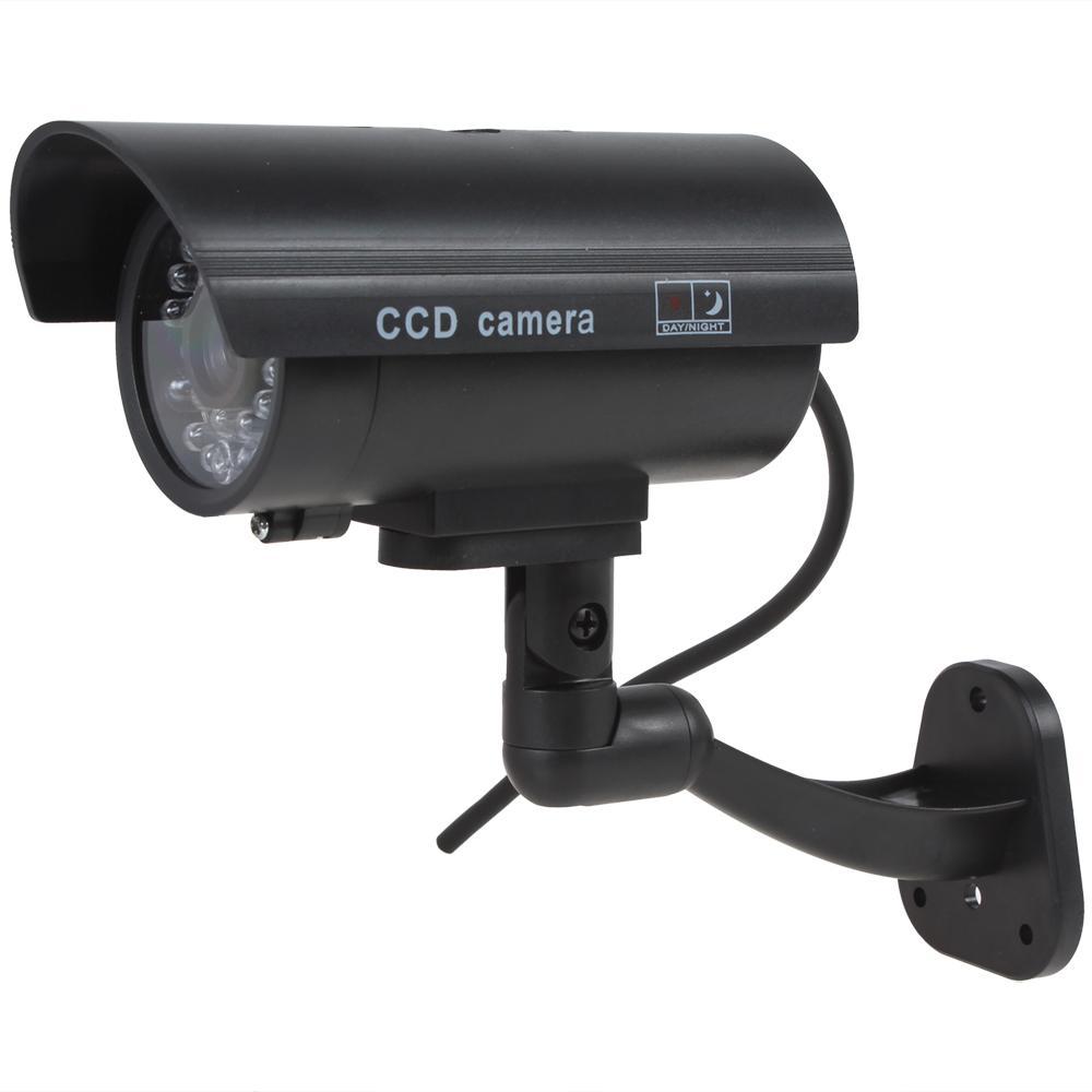 Sahte CCTV Kamera Su Geçirmez CCTV Yanlış Emulational Açık Sahte Kukla Güvenlik Kamera Decoy Kablosuz Yanıp Yanıp Sönen Kırmızı LED ile CCT_710