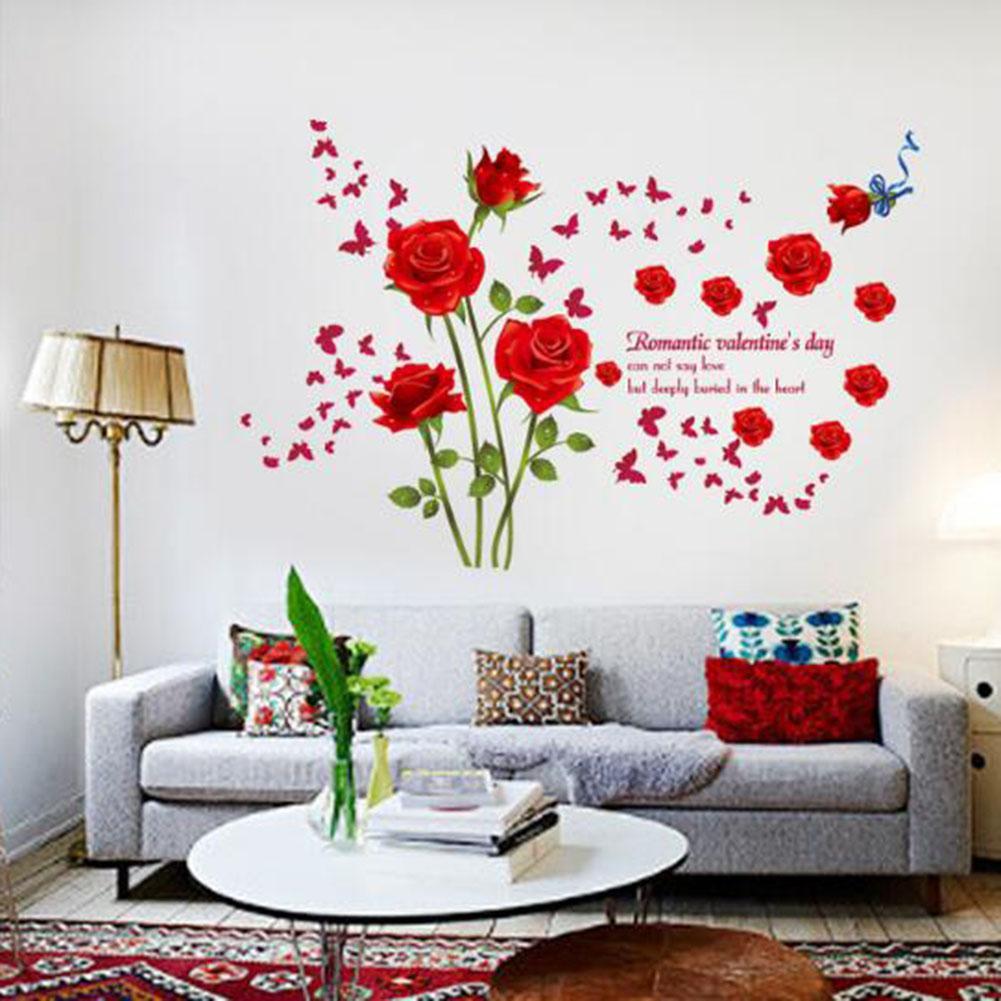 Adesivi murali rose rosse Soggiorno Coppia camera da letto Divano sfondo  Decorazione della casa decalcomanie di arte Fiori murales