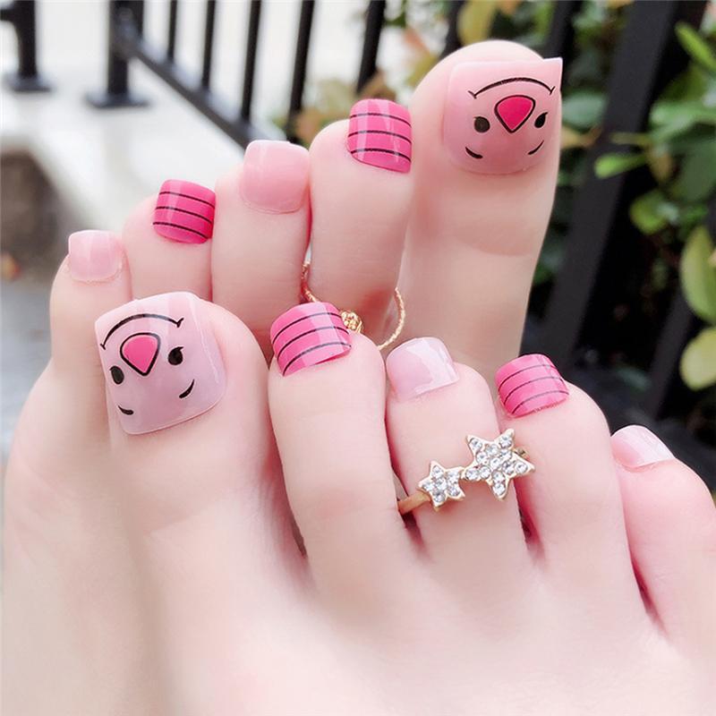 Cute Pink DIY Fashion Colors Toe Nails Cute Cartoon Expression ...