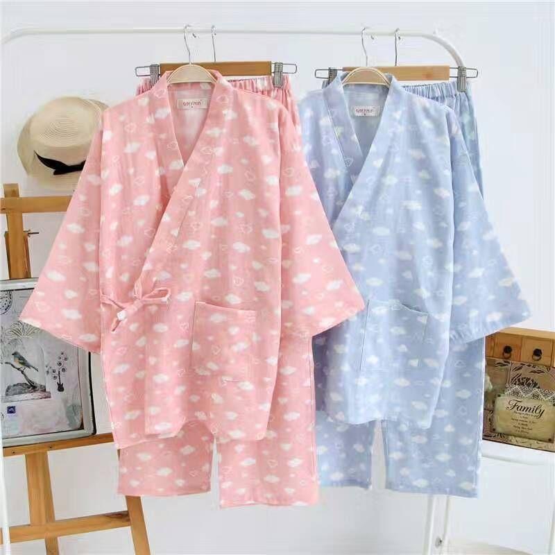7beeaa0c61 2019 Japanese Pajamas Sets Simple Kimono Cotton Yukata Girl Cute Loose  Nightgown Sleepwear Bathrobe Leisure Wear Steam SPA Homewear From Bigseaa