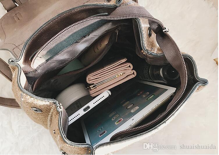 2018. Damenmode lässig Tasche. Damentaschen. College-Stil. Freizeittasche. Cord Rucksack. Handtasche. Cross Body.Shoulder Bags.Totes. AE765