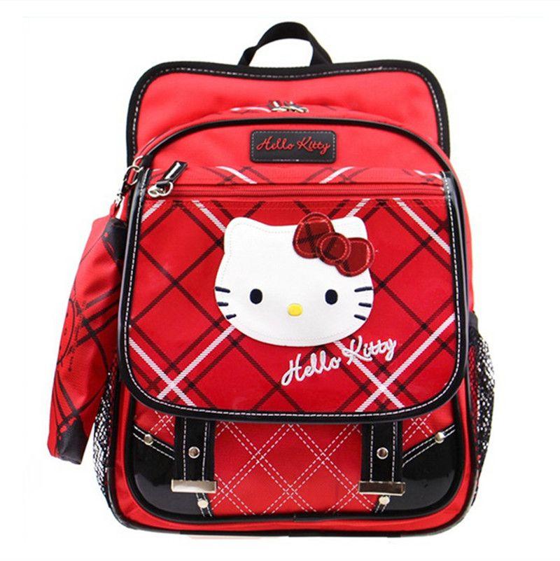 e2fd75b04c49c Red Hello Kitty Bag Pencil Case Set Primary Elementary School Backpacks  Kids Schoolbag Rucksacks Children School Bags for Girls
