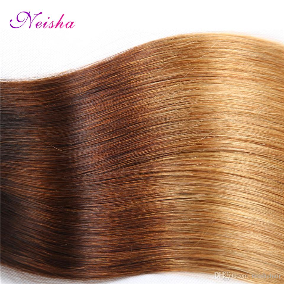 New Ombre Brazilian Peruvian Malaysian Straight Hair With Closure T1B/4/27 Unprocessed Virgin Remy Human Hair 3 Bundles With Lace Closure