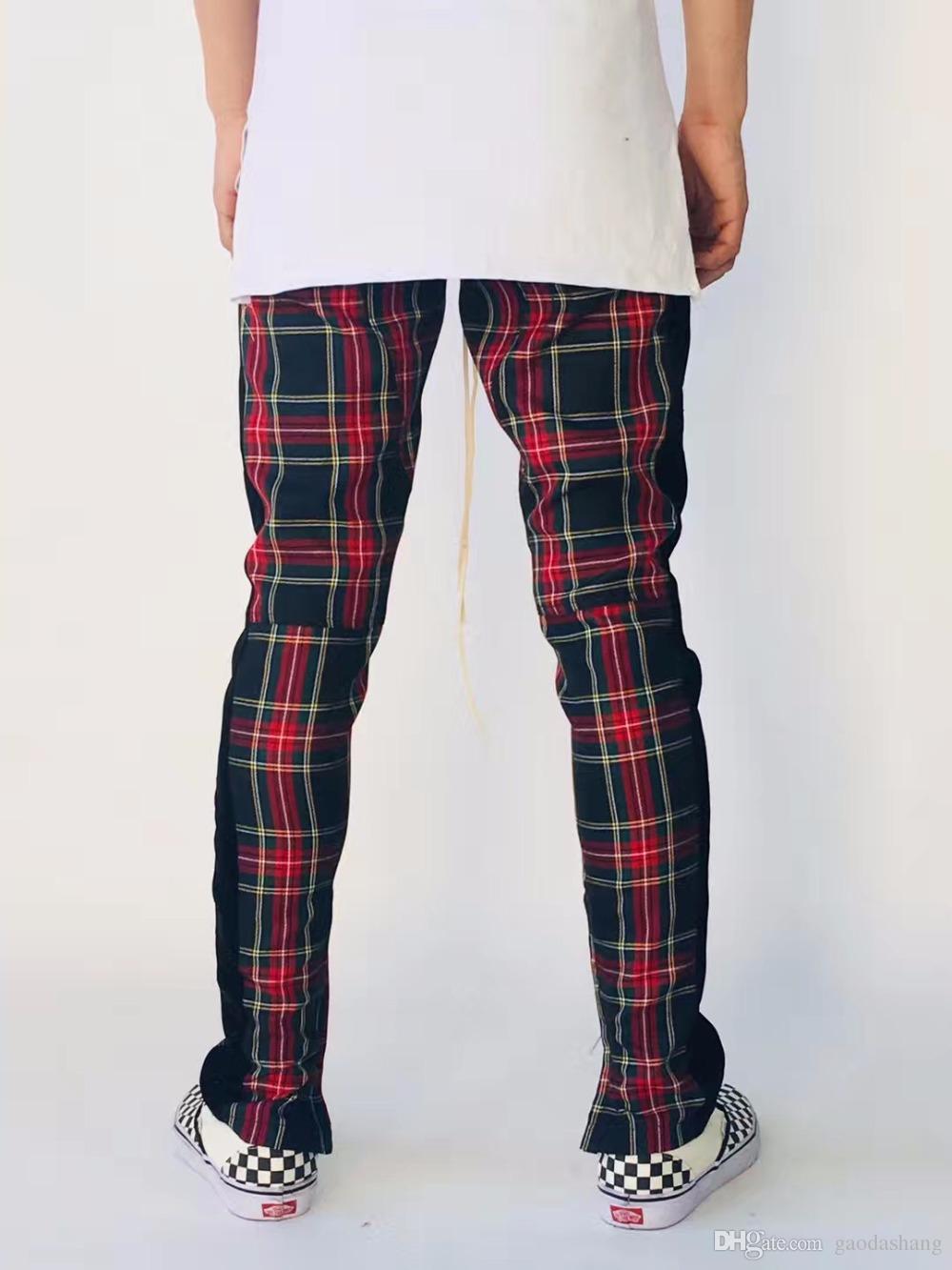 Новый 2018 осень новый спортивные штаны Мужчины Женщины туман случайные брюки Drawstring талии узкие брюки мужчины плед брюки мода брюки S-XL