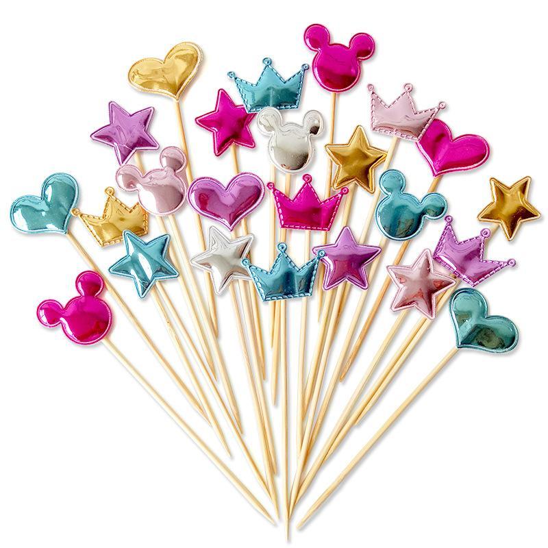 Cute Heart Star Crown Cake Topper Birthday Flag Baby Shower Party Wedding Decoration Supply FA 6517 Receita Se Cupcake Tradicional De