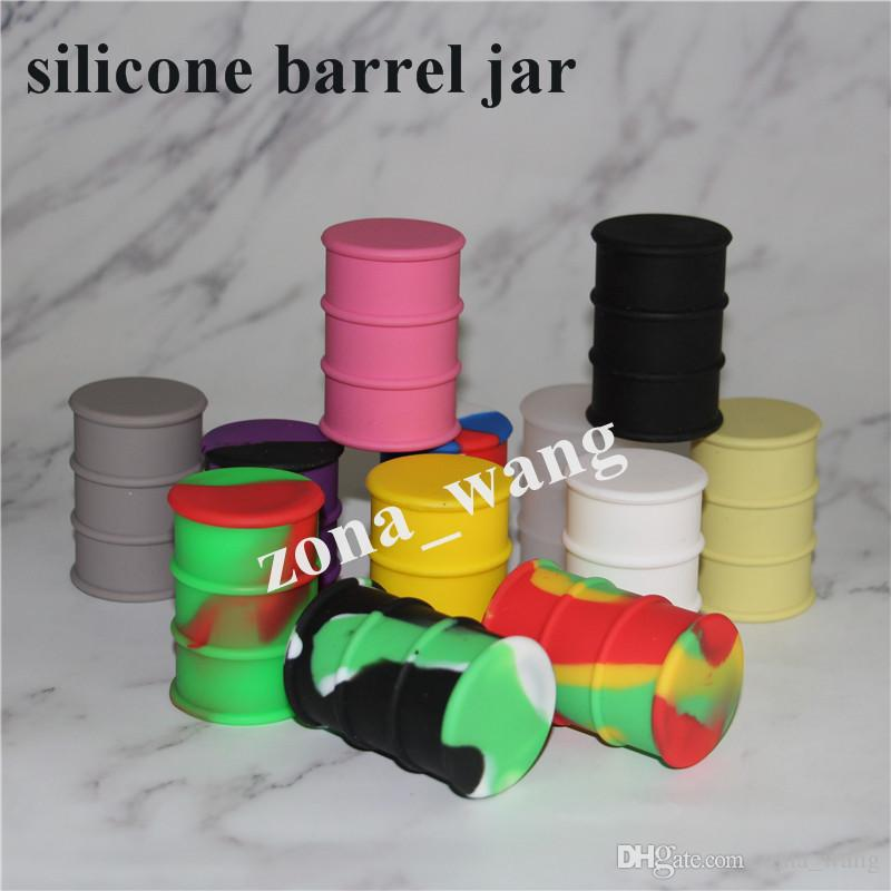 New silicone oil barrel container jars dab wax vaporizer oil rubber drum shape container 26ml food grade silicone /