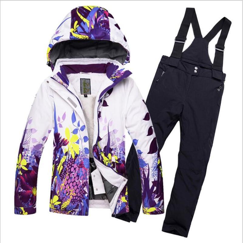 2019 2018 Fleeced Girls Ski Suit Waterproof Kids Ski Jacket Pants Thermal  Boys Winter Skiing Snowboarding Clothing 30 Degrees From Fwuyun d9d14619c