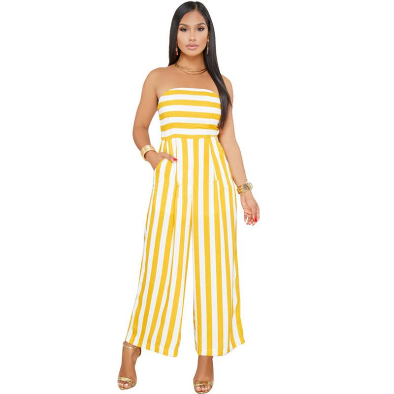 13e96d04cbf3 2019 Women Off Shoulder Strapless Striped Jumpsuit 2018 Summer Beach  Rompers Casual Loose Party Wide Leg Jumpsuit Backless Overalls From Regine