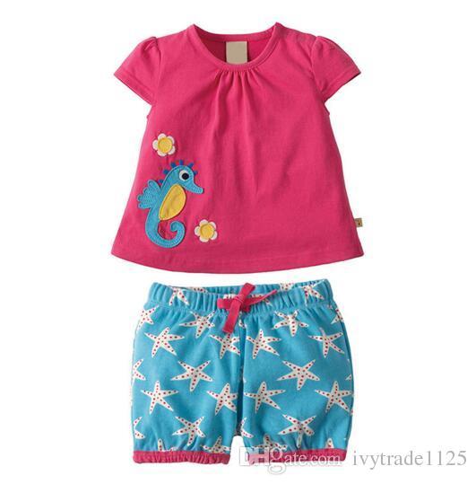 BST29 Yeni Gelenler Küçük Maven Çocuklar% 100% Pamuk kısa kollu karikatür muz hayvanlar baskı çocuğun seti nedensel yaz boys seti t gömlek + pantolon