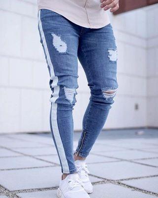 5cea9d940f Compre 28 38 CALIENTE! Moda Hombre Jeans Ripped Skinny Biker Jeans ...