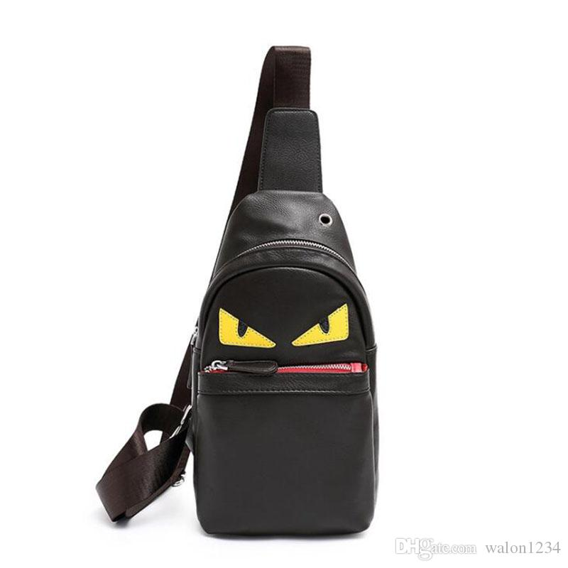 0c9044fcac7f Men Messenger Bags Chest Pack Vintage PU Leather Shoulder Crossbody Bags  Designer Eyes Monster Unisex Casual Bag Italian Leather Handbags Pink  Handbags From ...