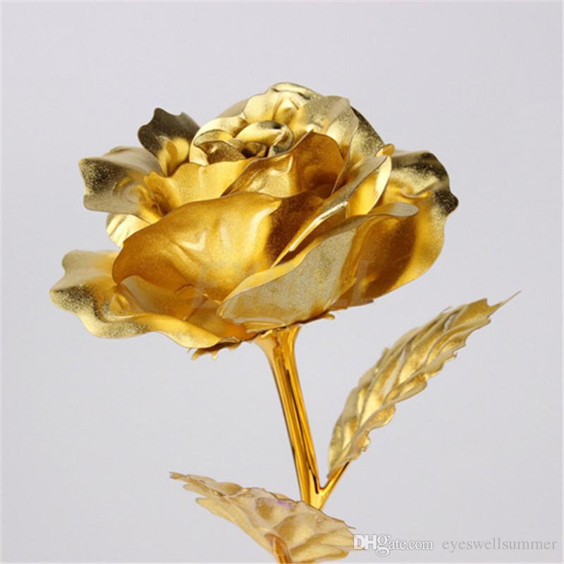 Moda 24k regalos de la hoja de oro plateado Rose creativos dura para siempre Rose para regalos del día de Navidad de la boda del amante de la decoración del hogar
