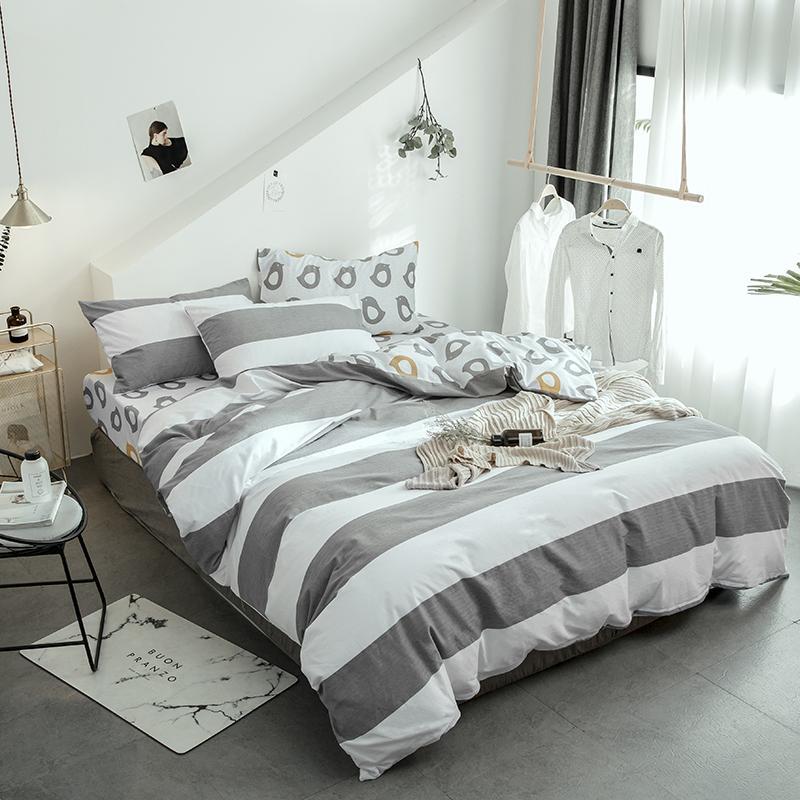 Grey White Stripes 100% Sanding Cotton Winter Thick Bedding Sets ...