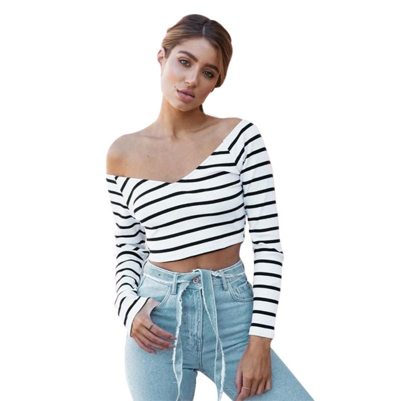 991adc83970 Women Fashion Crops Tops Off Shoulder Striped Crop Shirt Sexy Cross Stripe  V Neck T Shirt Long Sleeve Ladies Casual Tee Shirts Tees Design T Shirt Of  The ...