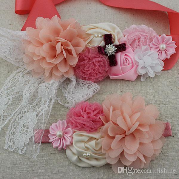 Yeni / Kızlar Kadınlar Kanat ile Elastik Kafa Seti şifon Dantel Çiçek Hamile Kadın Kız Kuşak Kanat Annelik Kanat Fotoğraf Prop