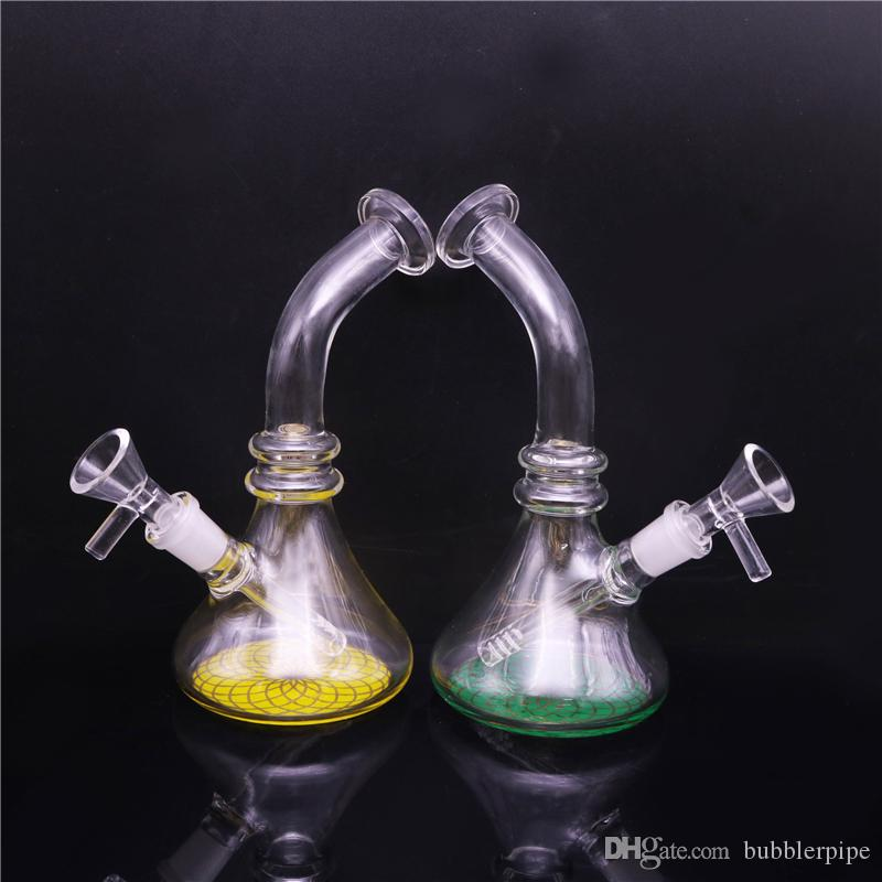 7 inch Mini Glass Bongs Smoking Water Pipe Glass Heady Beaker Bong Dab Rigs Bongs with Tobacco Herb Bowl 14mm Down Stem