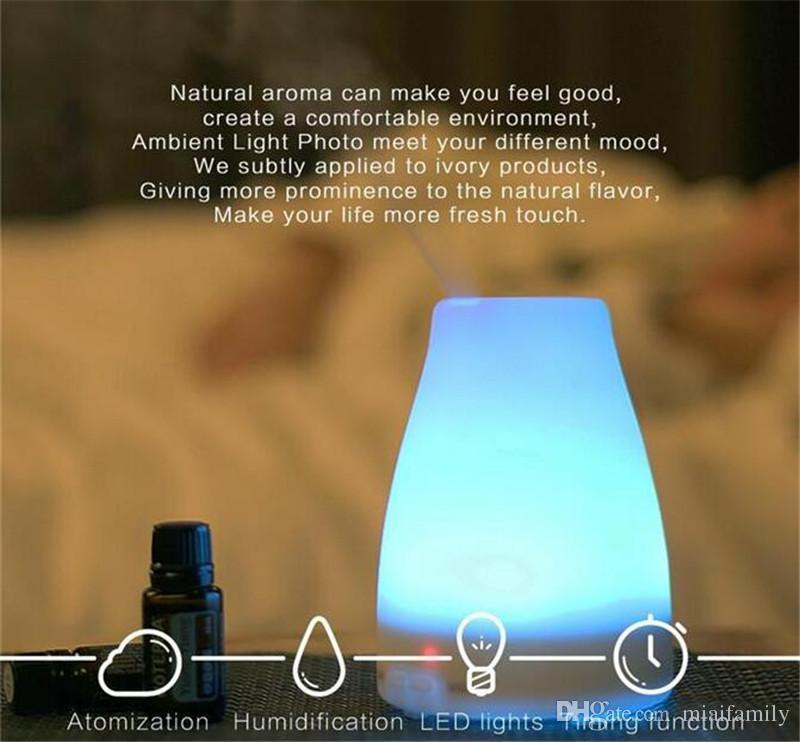 New Haute Qualité 100 ml 7 Couleur LED Humidificateur diffuseur pour diffuseur d'aromathérapie diffuseur ultrasonique d'huiles essentielles DHL Livraison gratuite