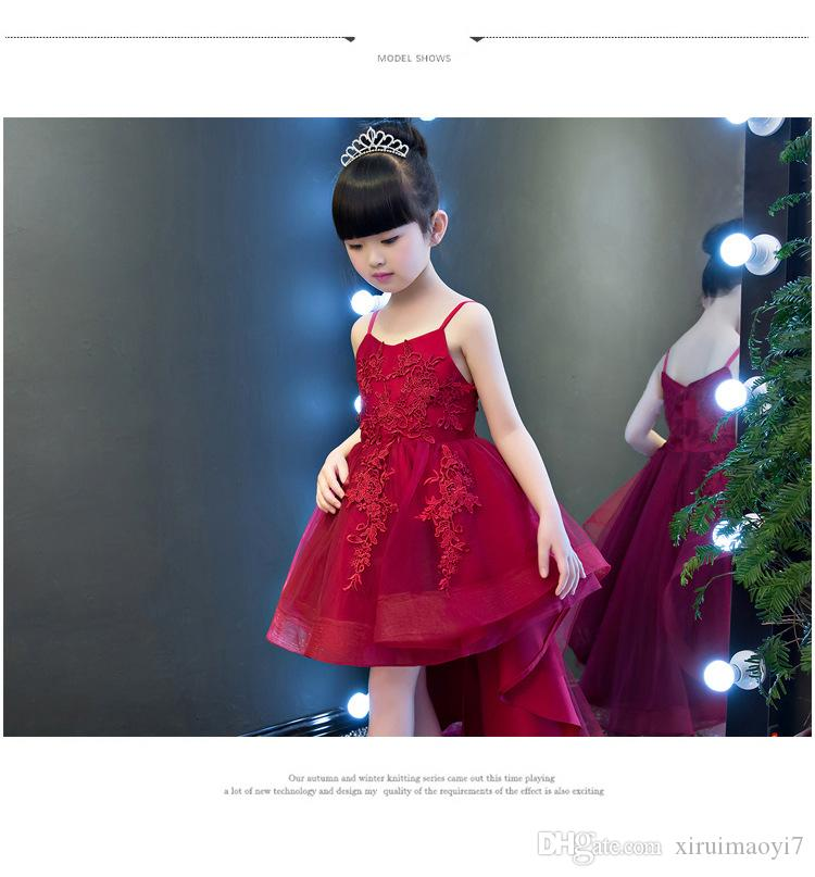 2017 New Girls Shoulderless Wedding Dress Red Appliques Party Tulle Princess Birthday Dress First Communion Gown for Girls