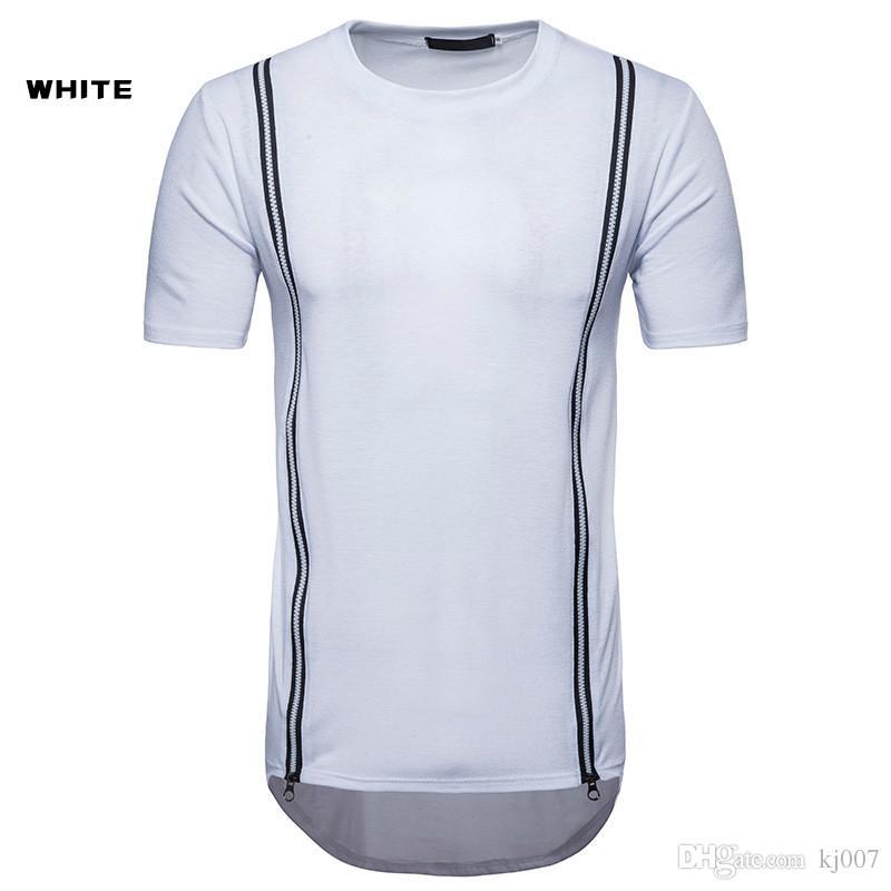 Хип-хоп футболка молния украшенные короткими рукавами рубашки для мужчин новые бренды модные рубашки хлопок нерегулярные хип-хоп топы рубашка