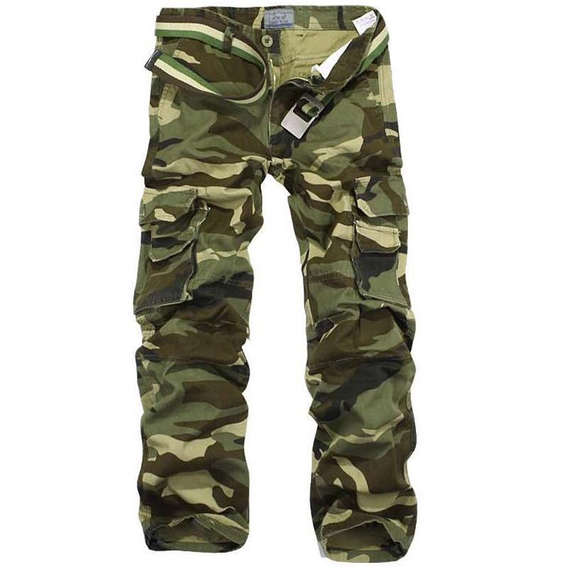 3817a7d709 Compre Pantalones De Camuflaje Hombres Multi Bolsillo Algodón Carga Militar  Pantalones Camo Pantalon Homme Mens Streetwear Trajes Ejército Pista  Pantalones ...