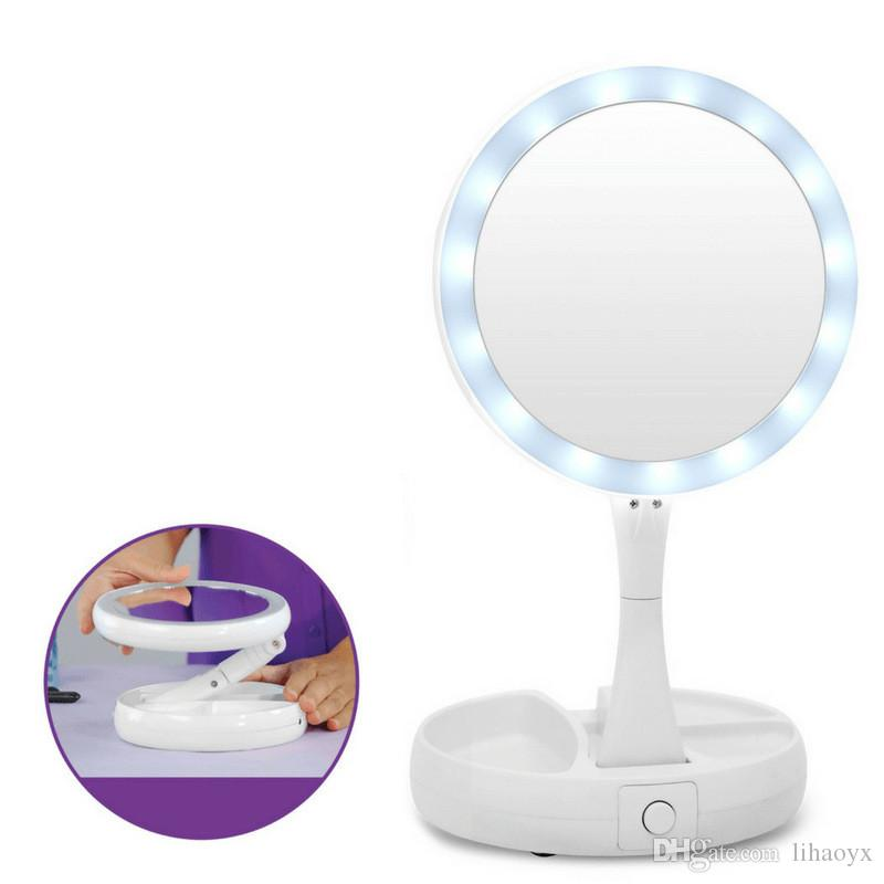 New My Fold Away Led Makeup Mirror Double Sided Rotation Folding Usb Lighted Vanity Touch Screen Portable Tabletop Lamp C413 Foldaway