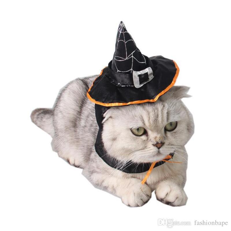 Compre Suministros Para Mascotas Sombrero De Mago De Halloween Para Gato De  Perro Sombrero De Peluche Lindo + Bufanda Disfraces De Halloween Por Mayor  Para ... 411e7ee0a9a