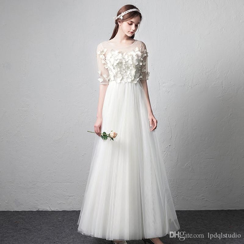b237cb8e428 Discount 2018 New Arrival Wedding Dresses Ivory Pleats Soft Tulle Sheer  With Butterflies Applique Zipper Back Plus Size Custom Made Bridal Party  Dresses Buy ...
