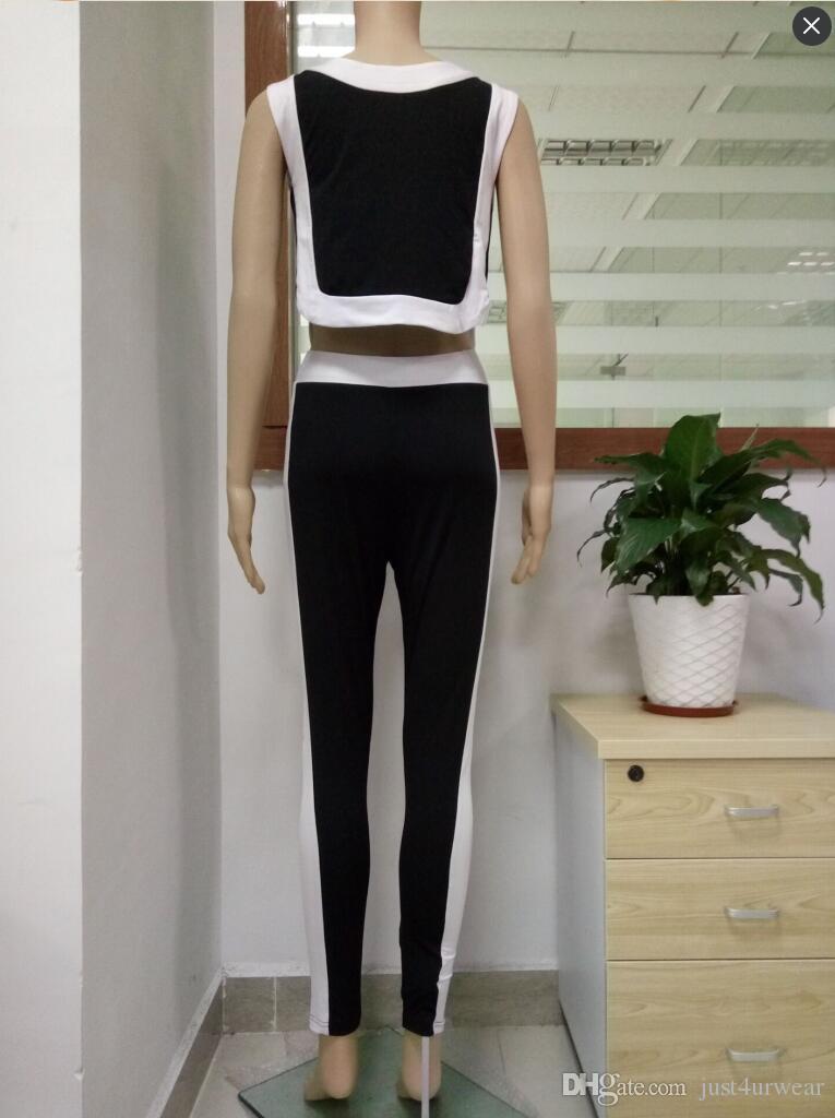 Kadınlar Yeni Moda Siyah Beyaz Rahat Eşofman Tankı Üstleri Uzun Pantolon 2 adet Giyim Setleri Kadın Spor Takım Elbise