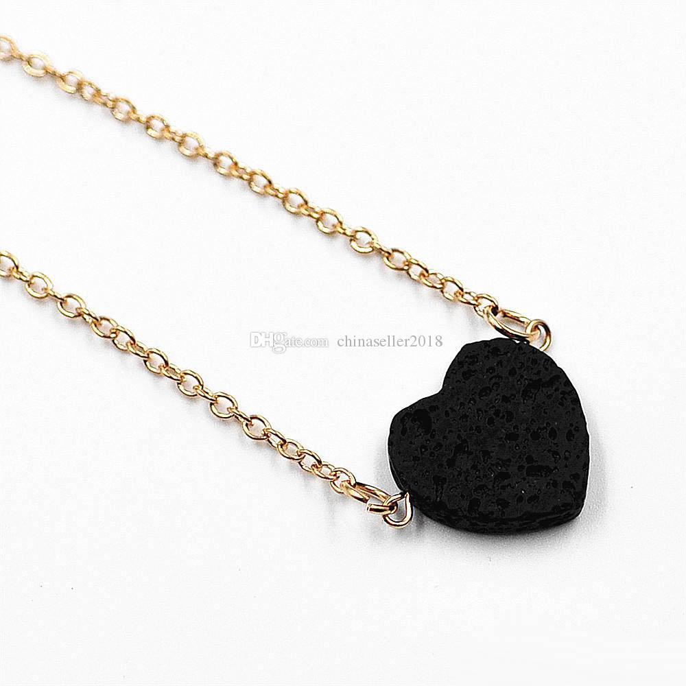 Moda Collar de Piedra de Lava Negro Diy Difusor de Aceite Esencial Collar de Piedra Natural Colgante