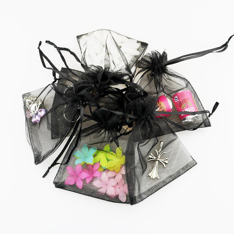 Organza Gift Bag 7x9cm Black Shell Jewelry Display Packaging Storage Bag Pouches Drawstring Tea Dry Flower Food Bolsa