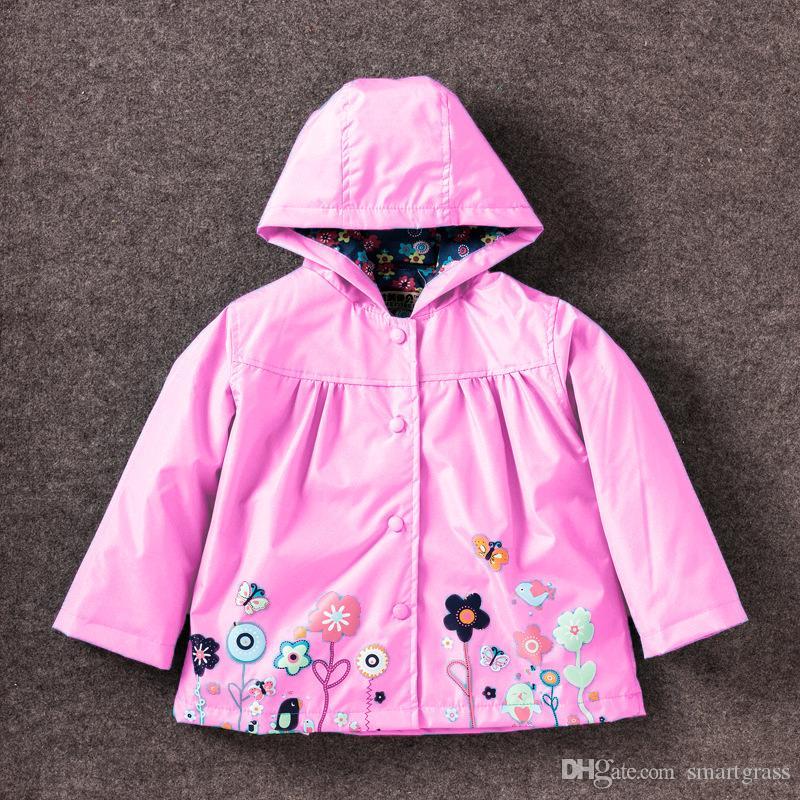 Çiçek Kız Yağmur Ceket 9 Renkler Kapşonlu Kızlar Yağmurluklar Uzun Kollu Bebek Kız Su Geçirmez Ceket 17072404