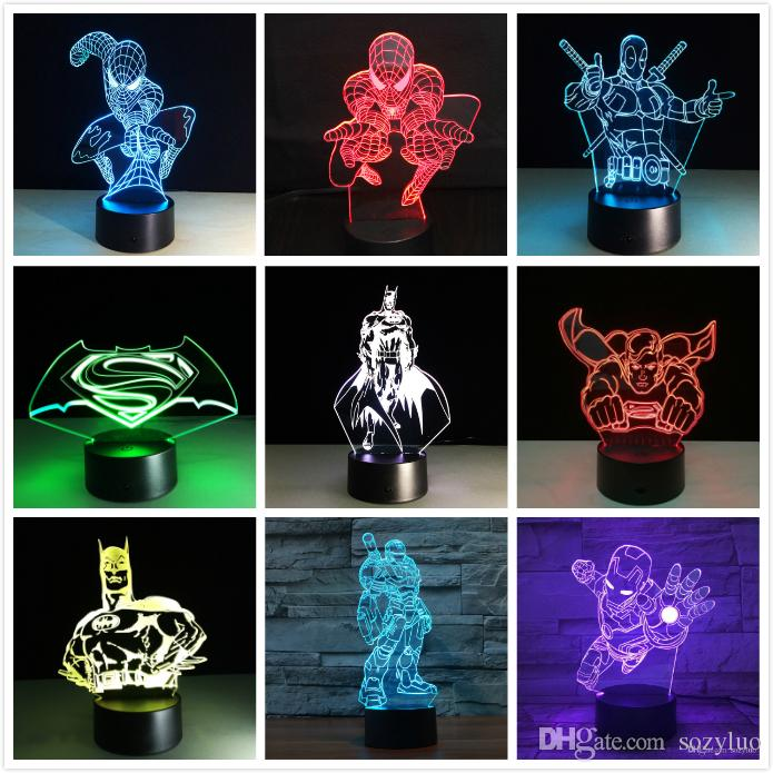 New Marvel Avengers Batman Deadpool Captain America Ironman USB Touch 7 Color Change Night light Led Glow in the Dark Action Figure Toys Kid