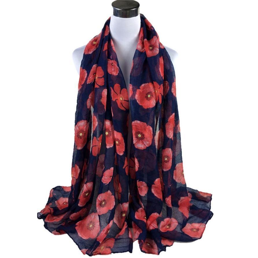 Pashmina Schal mit roten Mohnblumen, schwarz Floral Schal, Mohn, Art Pashmina