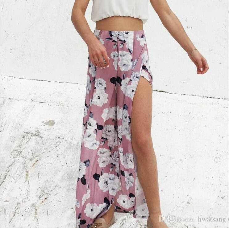 Girl Floral Print Wide Leg Pants Pink Women Long Casual Pant Sexy Split Leg 2018 Summer Boho Beach Elastic High Waist Chiffon Trousers