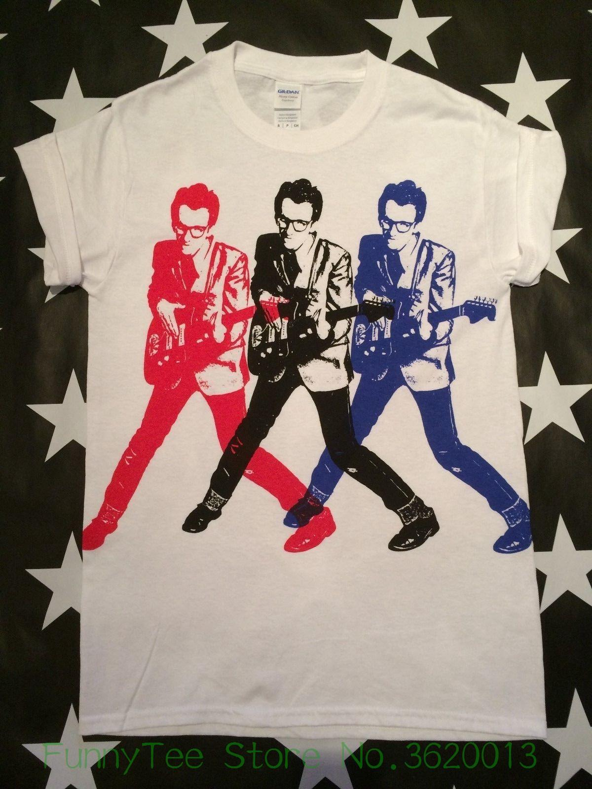 Womens Tee Elvis Costello X 3 Screen Printed T Shirt S 2xl Punk New