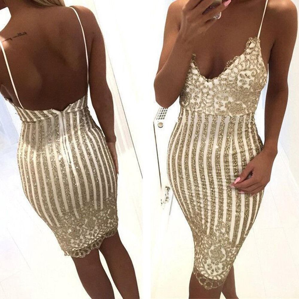 264fc637bb8f6 Womens Sexy Elegant Summer Solid Deep V Neck Sleeveless Sequined Slim Open  Back Party Fitted Sheath Bodycon Shiny Golden Dress
