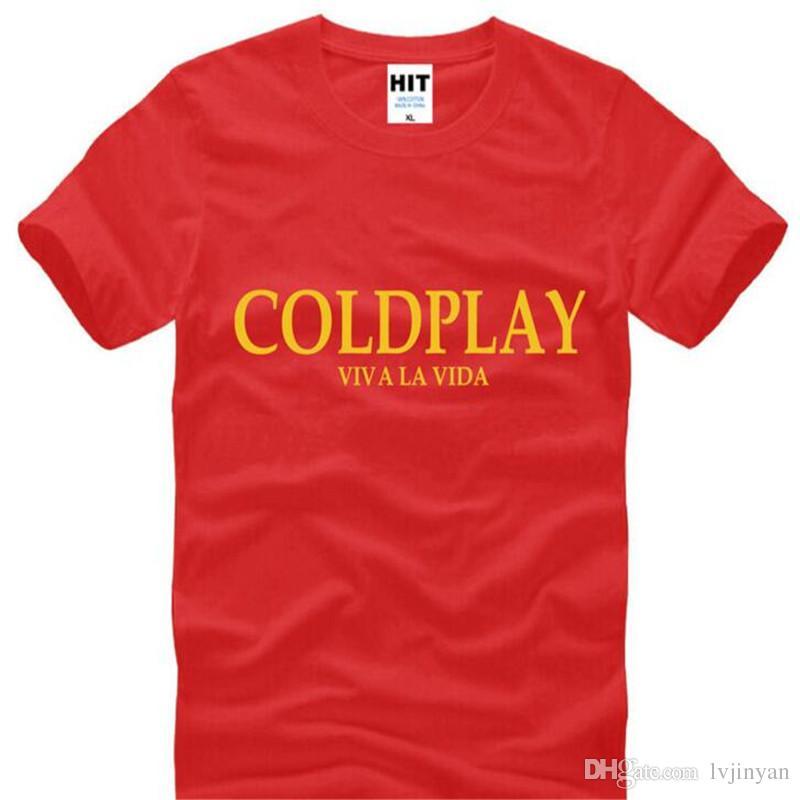 Rock COLD PLAY T Shirts Men Summer Style Cold play Viva la vida Letter Printed Men's T Shirt New Short Sleeve Cotton Men Top Tee