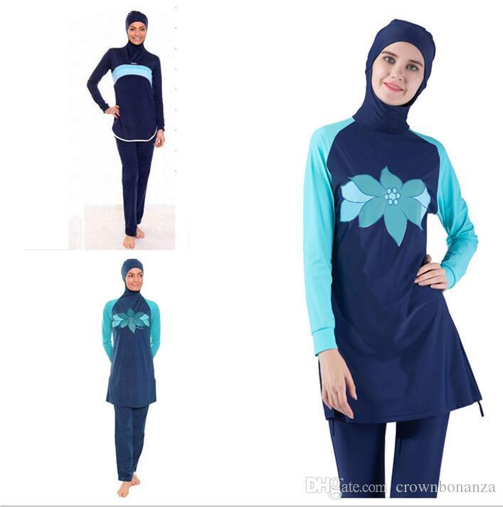 c01ce5d10e 2019 Muslim Swimwear Islamic Women Modest Hijab Plus Size Burkinis Wear  Swimming Bathing Suit Beach Full Coverage Swimsuit From Crownbonanza