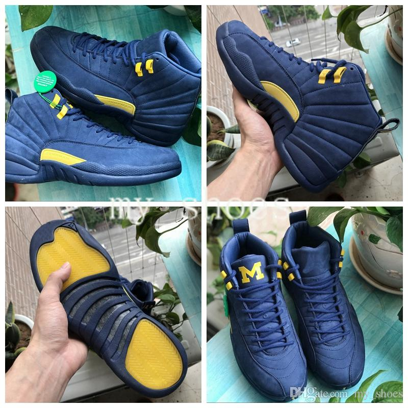 50de84a8edd4b1 2019 2018 Hot Sale New Jumpman XII 12 Michigan Blue Yellow Basketball Shoes  12s Sports Shoes Mens Athletics Top Quality Womens Sneaker Size 40 47 From  ...