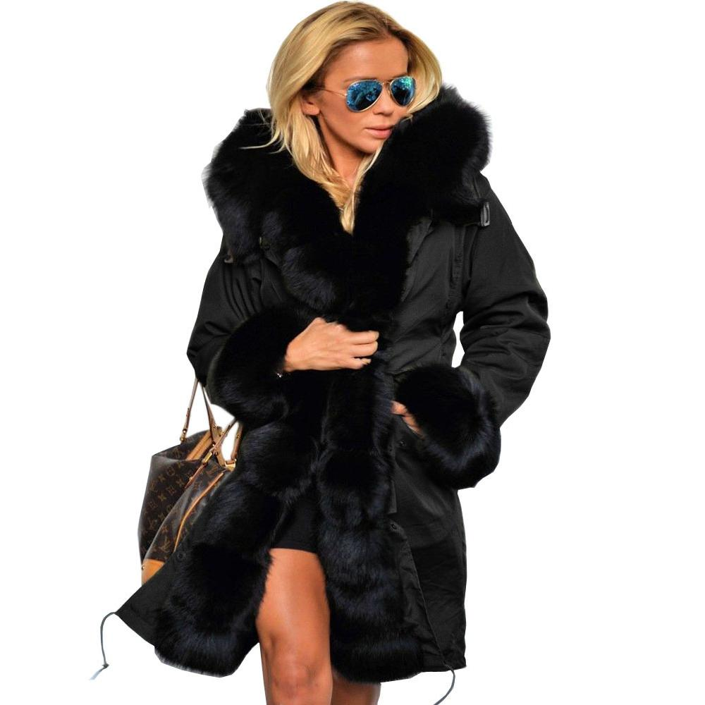 e16d40be61d 2019 Roiii Women S Thicken Warm Casual Long Winter Faux Fur Hooded Plus  Size Parka OverCoat Jacket Coat Plus Size S M L XL XXL 3XL D18110805 From  Shen8403