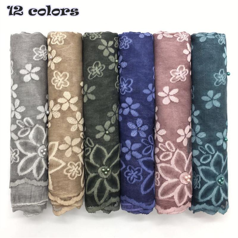 2018 Muslim Embroider Flower Scarfs Hot Sale Pearl Design Scarf Women Plain  Maxi Hijab Wrap Fashion Foulard Fashion Style Blue Scarf Orange Scarf From  Yongq ... 21a21a78e9a