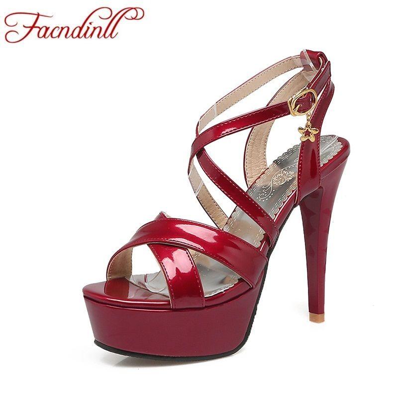 fb432db69e7a8 Sexy Super High Heels Sandals 2018 Fashion Summer Platform Sandals Woman  Ankle Strap Wedding Party Shoes Ladies Big Size Shoes Black Wedges Platform  Shoes ...