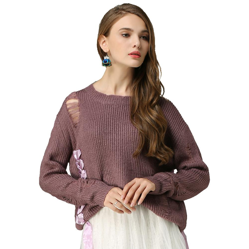 2019 Women Ripped Knitted Sweater Loose Lace Up Bandage Frayed Holes  Knitwear Top O Neck Long Sleeve Casual Spring Pullover Purple From  Qinfeng07 049072889